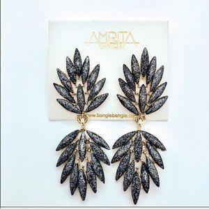 Shimmer Black Silver Gold Metallic Earrings NWT